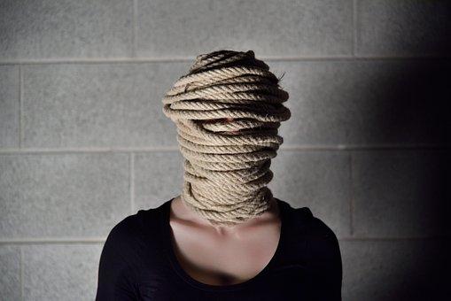 Rope, Wall, Woman, Anxiety, Girl, Gray, Bricks