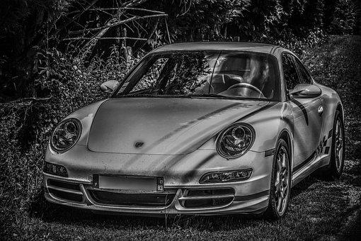 Monochrome, Car, Automobile, Luxury, Speed, Porch