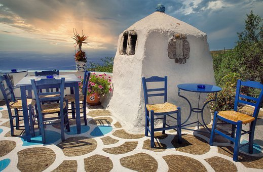 Tavern, Crete, Greece, Sea, Vacations, View, Island
