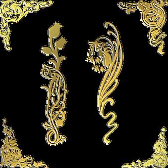 Gold Foil Corners, Flower Gold, Floral, Decorative