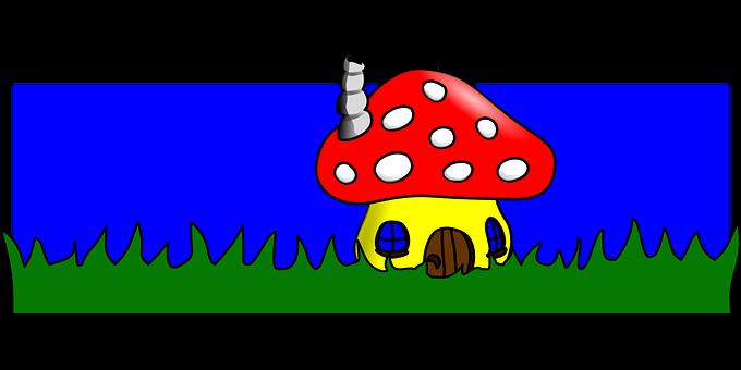 Mushroom, House, Cartoon, Toadstool, Home, Grass