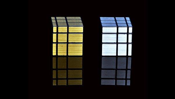 Rubik, Gold-silver, Cubes, Reflection