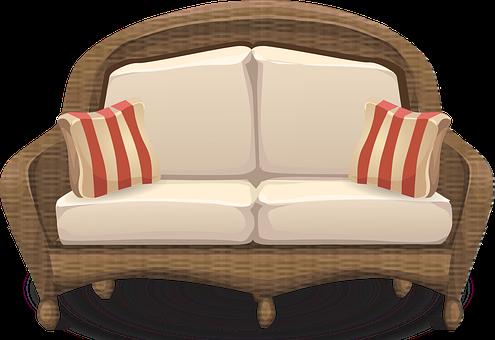 Couch, Loveseat, Sofa, Furniture, Wicker