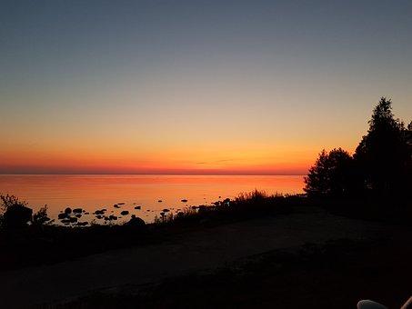 Midnight, Summer, Sky, Landscape