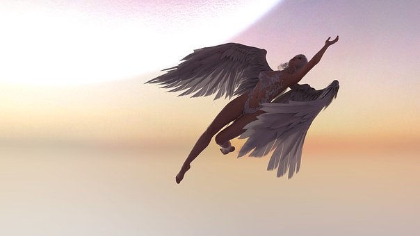Angel, Wings, Sunset, Sunrise, Skies