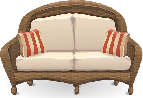 Couch, Loveseat, Sofa, Furniture, Wicker, Living Room