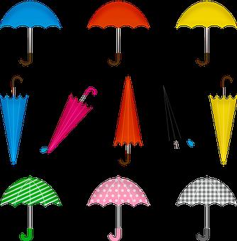 Umbrella, Rain, Colorful, People, Weather, Water