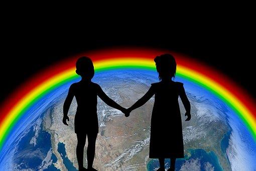 Forward, Globe, Children, Girl, Boy, Earth, Rainbow
