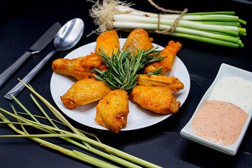 Chicken, Wings, Cock, Beak, Food, Delicious, Meal
