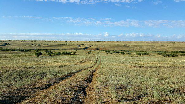 Kalmykia, Steppe, City-chess, Road, Sky, Sagebrush