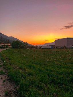 Sun, Sunset, Austria, Mountains, Land, Grass, Meadow