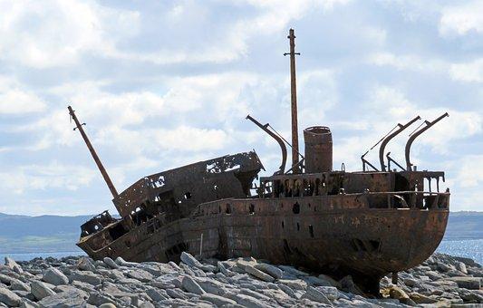 Ireland, Shipwreck, Rusty Hulk, Ship, Abandoned, Boat