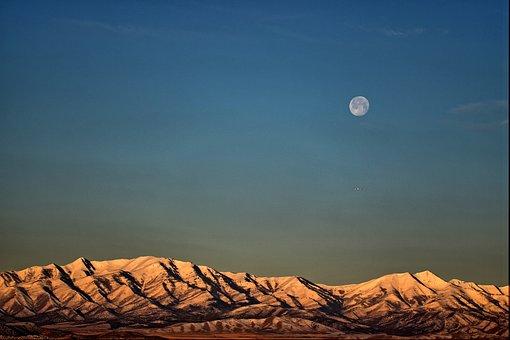 Moon, Sunrise, Morning, Mountain, Ufo, Sky, Blue Moon