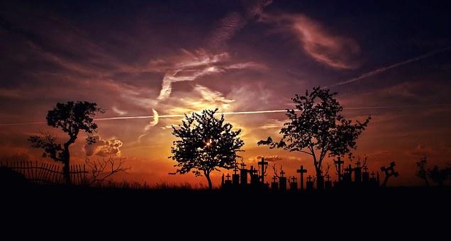 Landscape, Trees, Sunset, Sky, Burial Mounds