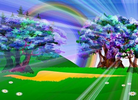 Sunrays Through Trees, Rainbow