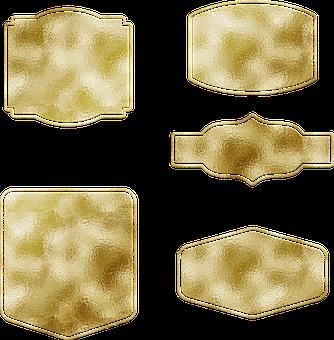 Gold Foil Labels, Tags, Bracket, Sale, Sticker, Banner
