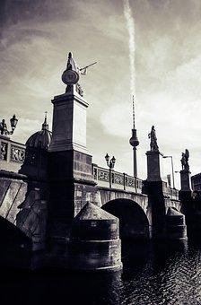 Berlin, Tv Tower, Bridge, Statue, Sculpture, Clouds