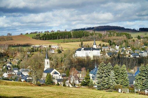 Neuhausen, Ore Mountains, Panorama, Church, Castle