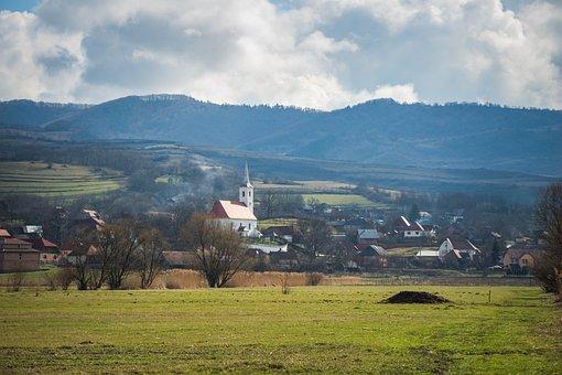 Church, Traditional Village, Spring, Village, Landscape