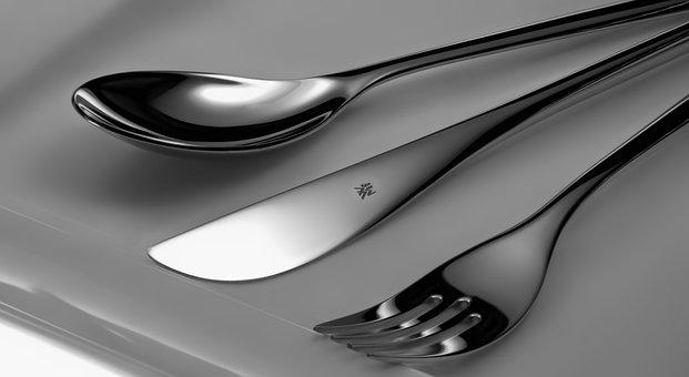 Cutlery, Chrome Plated, Knife, Fork, Spoon, Plate