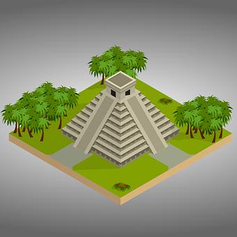 Isometric, Chichen Itza, Mexico, 3D