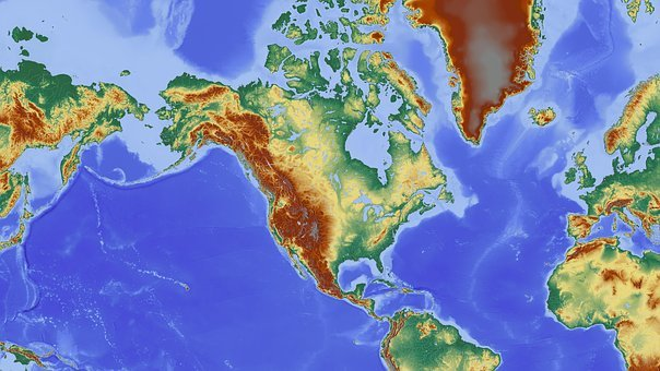 North America, America, Map, Relief Map