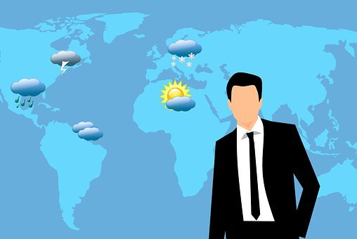 Weather, News, Reporter, Man, Showing, Broadcast