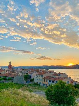 Village, Sunset, Sea, Sky, St Tropez
