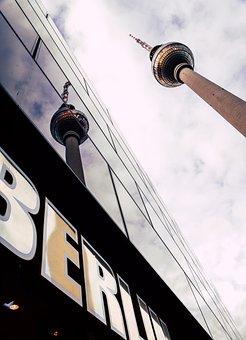 Berlin, Tv Tower, Glass, Architecture, Mirroring