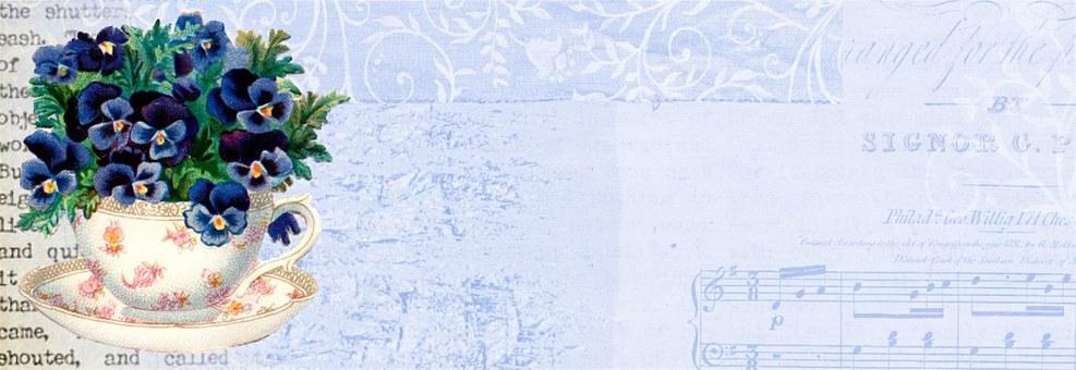 Vintage, Flower, Teacup, Blue, Banner, Web, Business