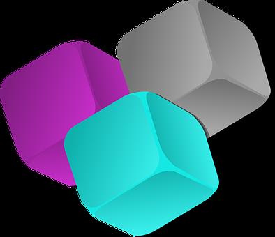 Cube, Three, Dice, Boxes, Pink, Grey, Gray, Turqoise