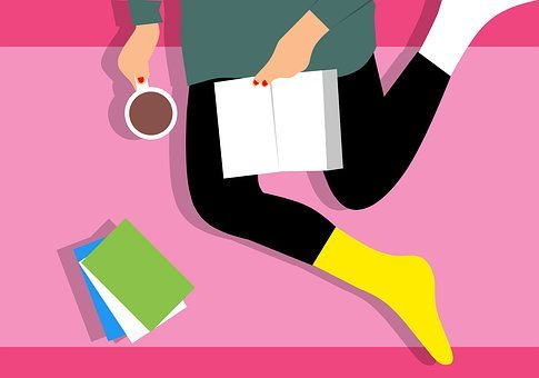 Woman, Different Socks, Reading, Book, Coffee, Sitting
