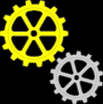 Gears, Yellow, Gray, Cogwheel, Mechanism