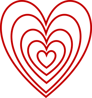 Valentine, Heart, Love, Embedded, Red, Outlines