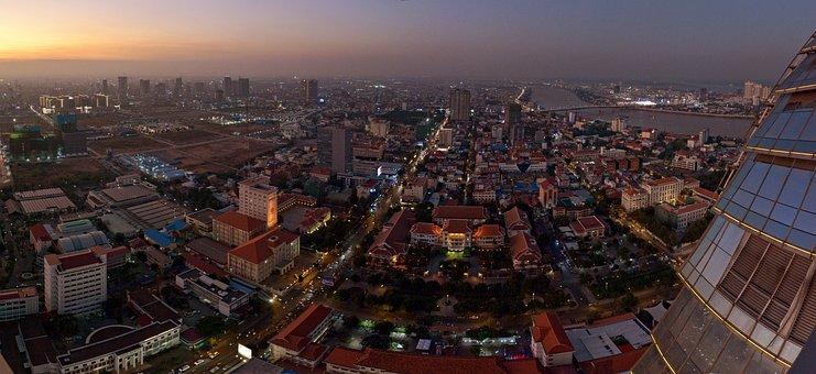 Phnom Penh, Cambodia, Traffic, Night, Skybar, Rooftop