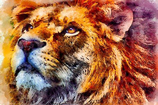 Lion, Wild, Portrait, Look, Watercolor, Vintage, Cat