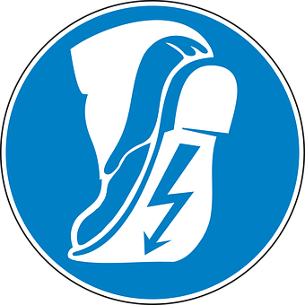Safety Shoe, Non-conducting, Isolating, Blue, Sign