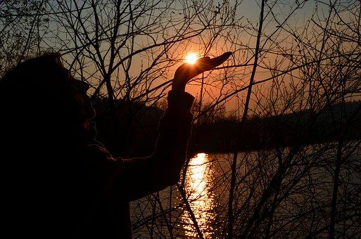 Sunset, Nature, Contour, Profile, Sky, Human, Freedom