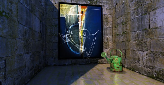 Painting, Art, Watering Can, Caught, Dungeon, Crypt