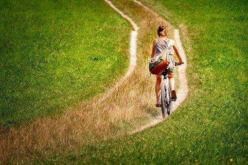 Cyclists, Cycle, Woman, Lane, Path, Cycling