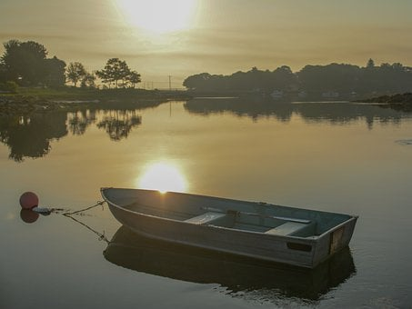 New Castle, New Hampshire, Sun Rise, Boat, Summer