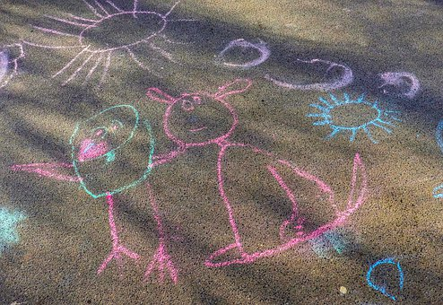 Chalk, Road, Play, Drawing, Pavement, Children Drawing