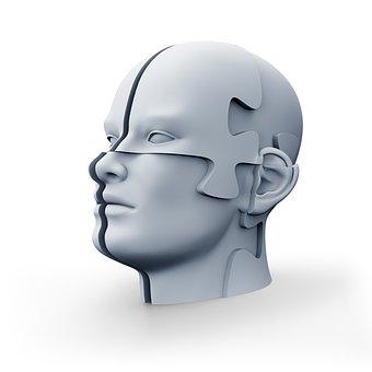 Jigsaw Head, Puzzle, 3d Render, Isolated, Headache