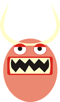 Monster, Mug, Face, Eyes, Horns, Teeth, Demon, A Smile