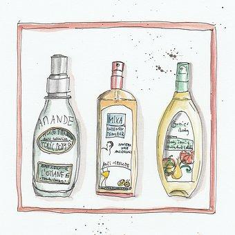 Shampoo, Hair Care, Watercolour, France, Bottle, Soap