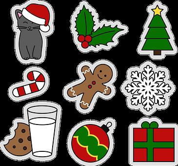 Christmas, Motives, Stickers, Snowflake, Milk, Cat