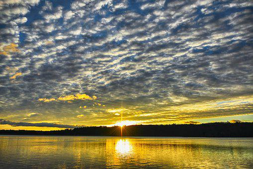 Water, Sunrise, Morning, Dawn, Clouds