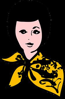 Head, Scarf, Fashion, Face, Woman, Yellow, Portrait