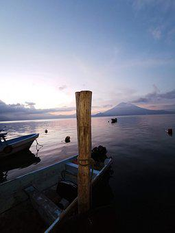 Guatemala, Lake, Sunrise, Landscape, Atitlán, Shore