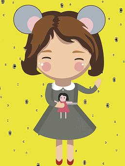 Girl, Mouse, Baby Doll, Ears, Vector
